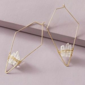 3/$35 RESTOCKED White Crystal Geometric Earrings